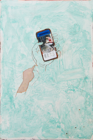 Painting by Gaia Fugazza shown at the Zabludowicz Collection, London. Motherhood, technology, facebook.