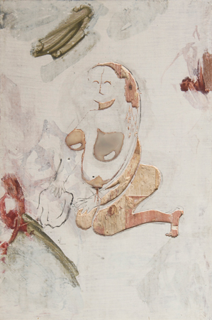 Painting by Gaia Fugazza on carved wood shown at the Whitechapel Gallery, London, Salon de Montrouge, Montrouge. Contraceptive, control of women's bodies, breast implants