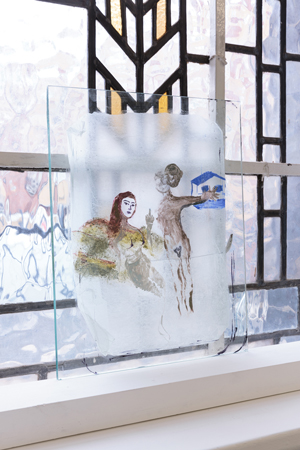 Painting on glass and paper by Gaia Fugazza. Shown at the Zabludowicz Collection, London. Showing a couple discussing if living in the countryside or the city.