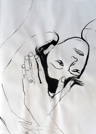 Ink drawing by Gaia Fugazza showing her son at the hospital. Western medicine
